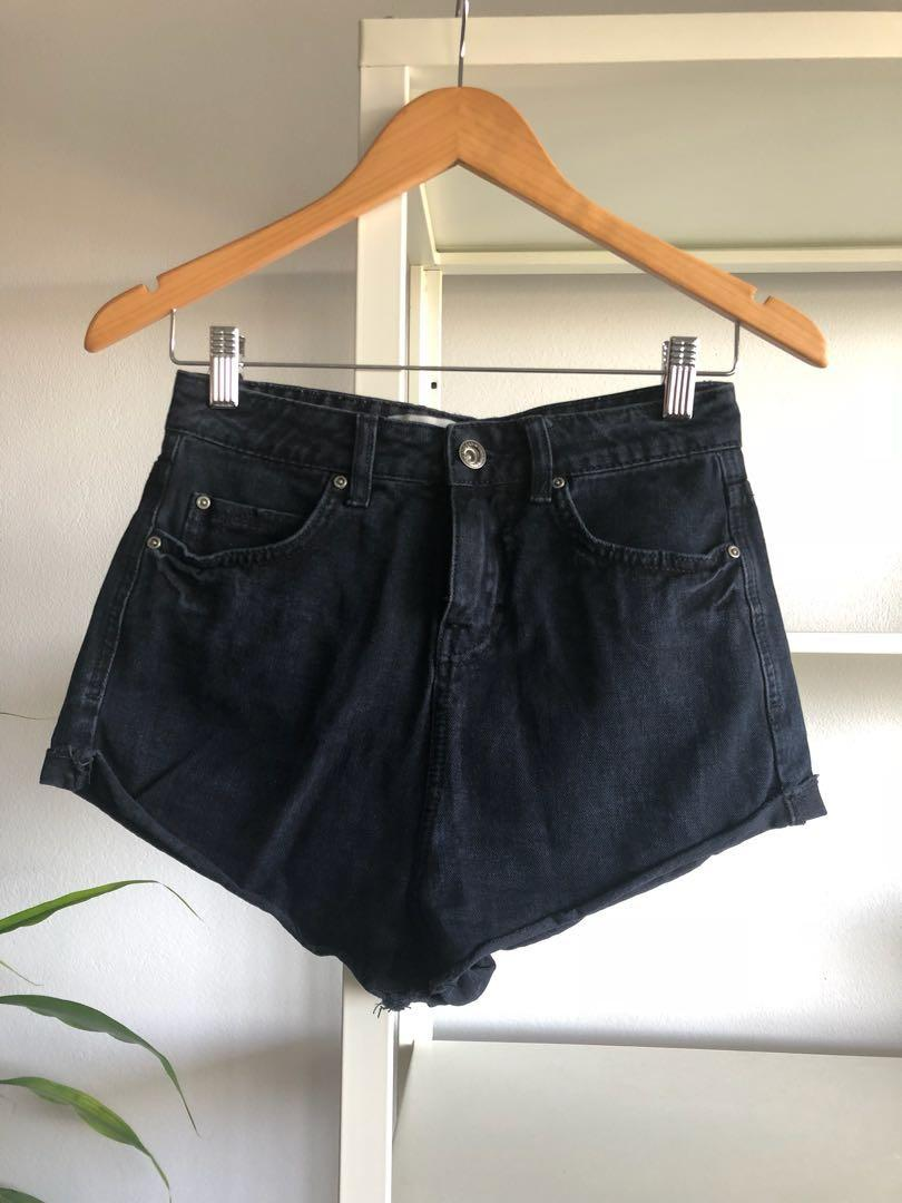 New Look Washed Black Mom Shorts