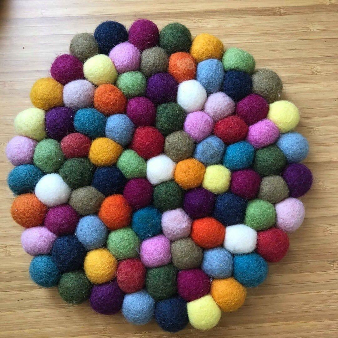 Rainbow teapot mat coaster Amalfi wool