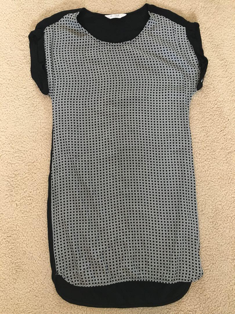 Seed size 6 dress black and white