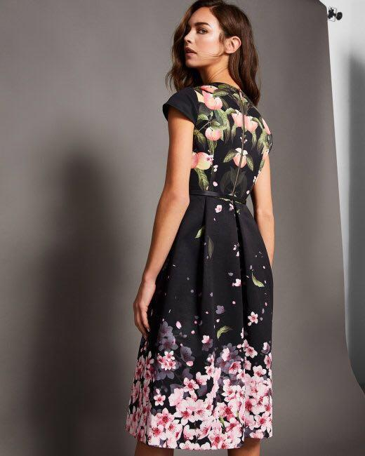 official site fashion style new photos Ted Baker FREDICA Peach Sakura Blossom wrap midi dress, Women's ...