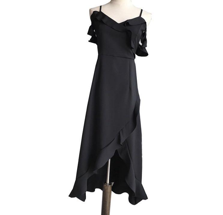 63e886c9bef8 Tiffany V-Neck Irregular Ruffled Lotus Off-Shoulders Dress