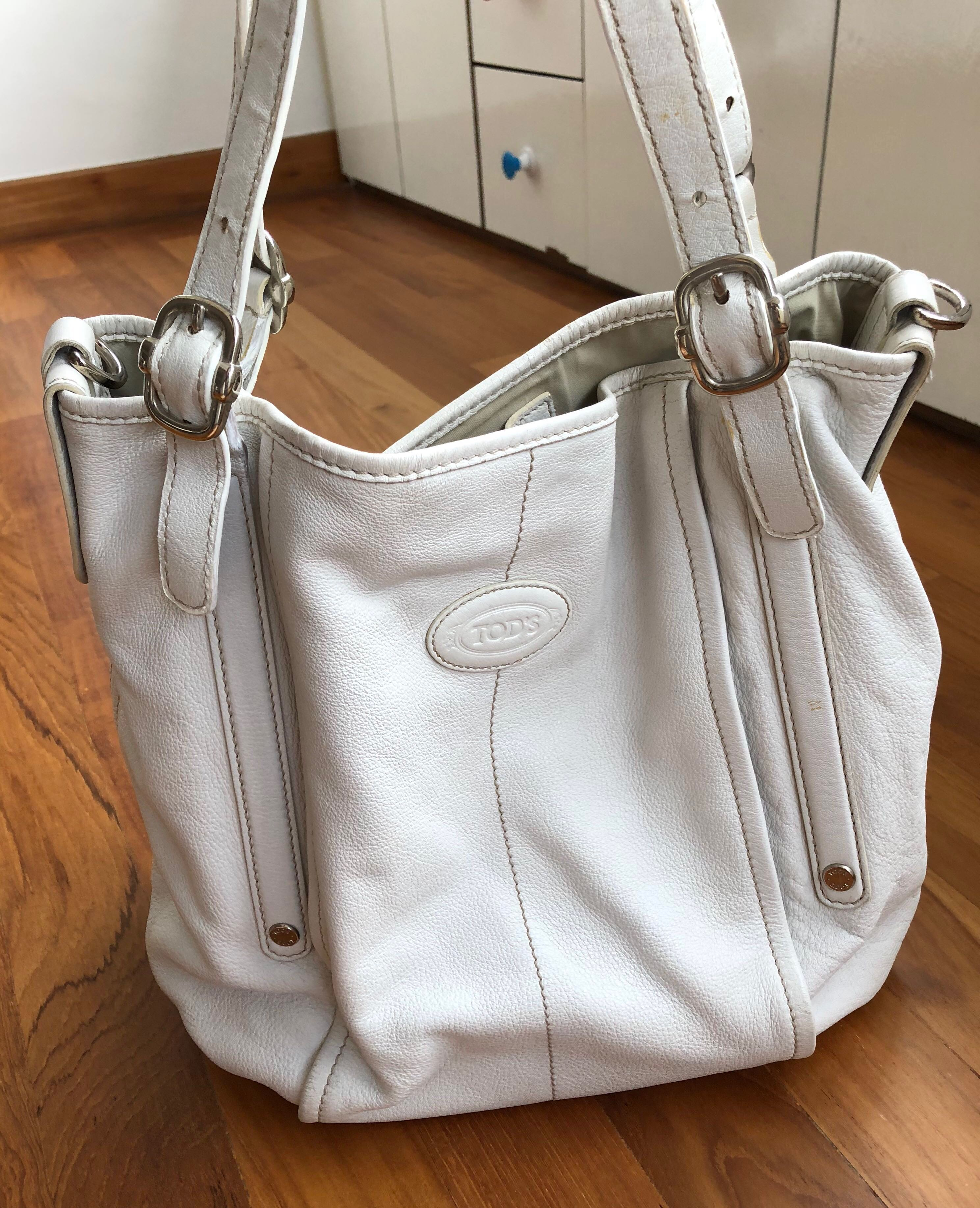 Tod s G-bag Shopper Tote Bag. Authentic. Cream White leather. Large size. ea1ba11be0176