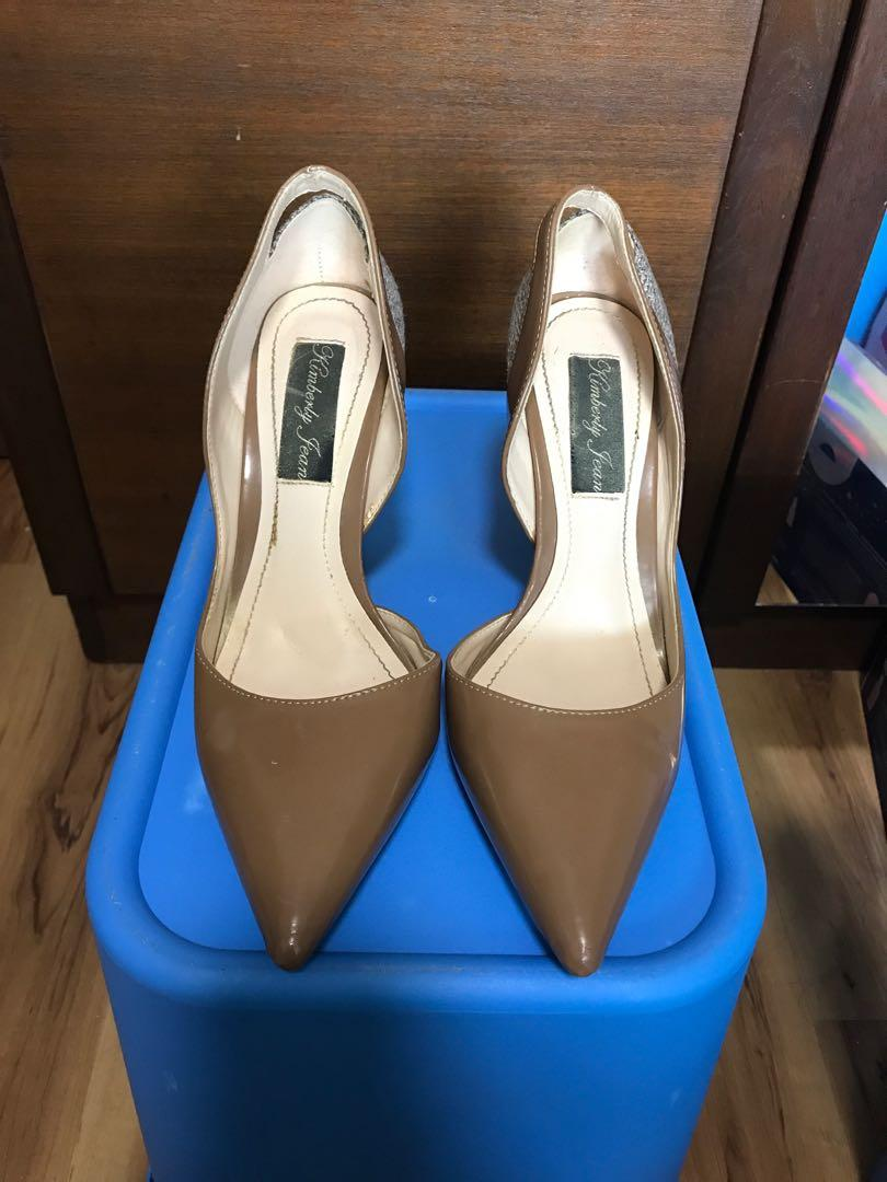 Tweed and Taupe/Nude High Hell Pumps