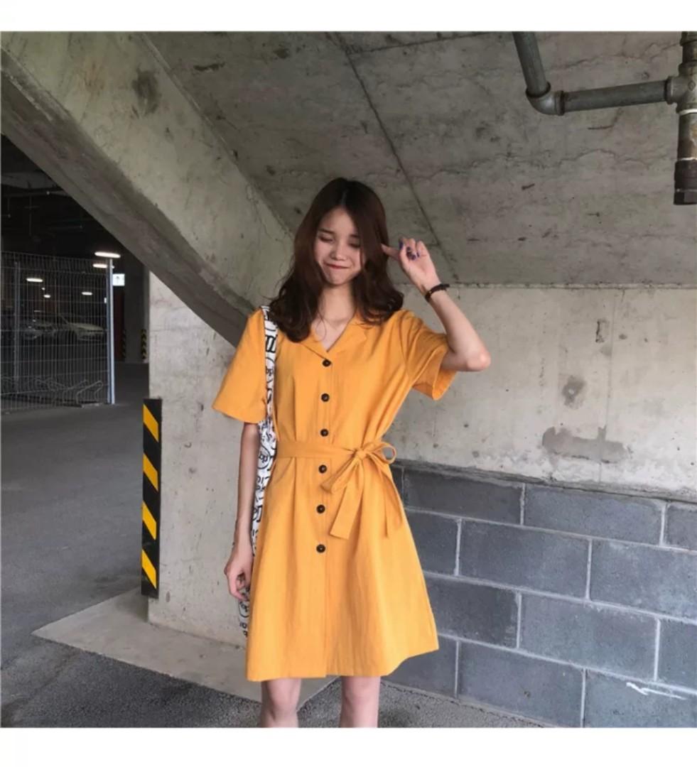 d70ddbaffbb3 ulzzang yellow summer dress button down cute short sleeve student ...