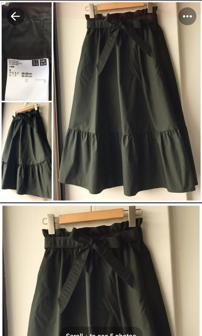 098a13ccb5 Uniqlo Forest Green High Waisted Belted Midi Skirt, Women's Fashion ...