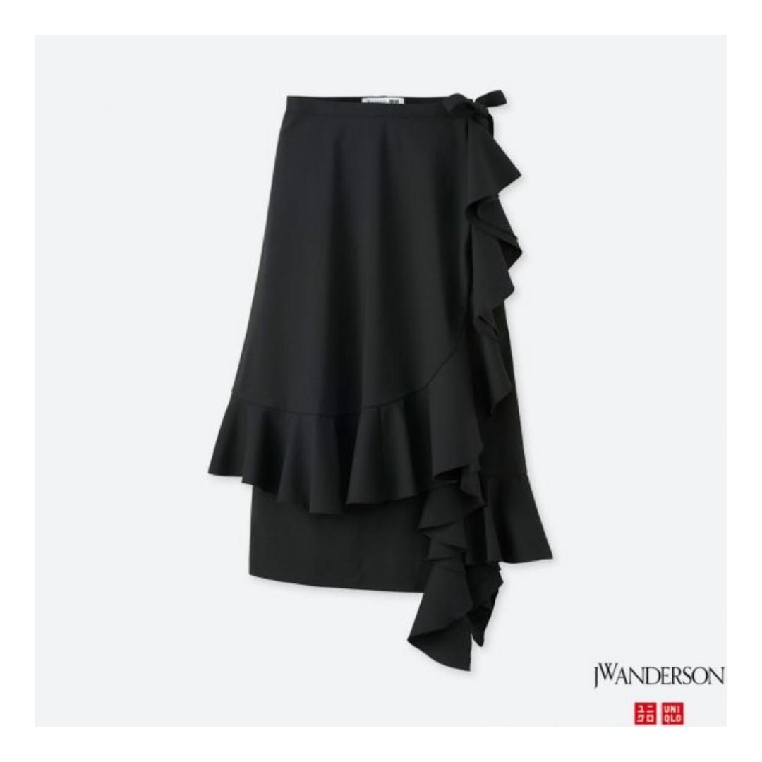 Uniqlo x J.W. Anderson - Black Ruffle Wrap Midi Skirt (XS)
