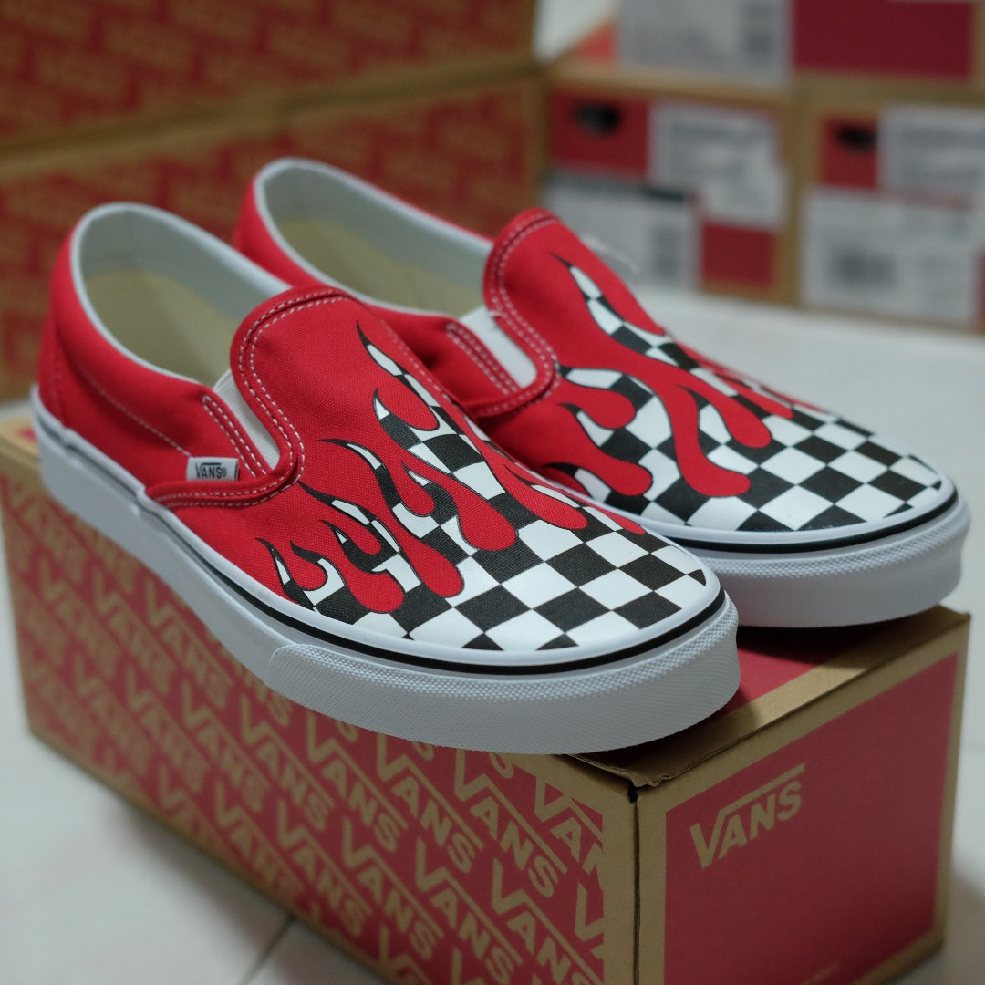 0a1a8d3fce LAST DAY! US8   US9 Vans Slip-On Checker Flame Red (Checkerboard ...
