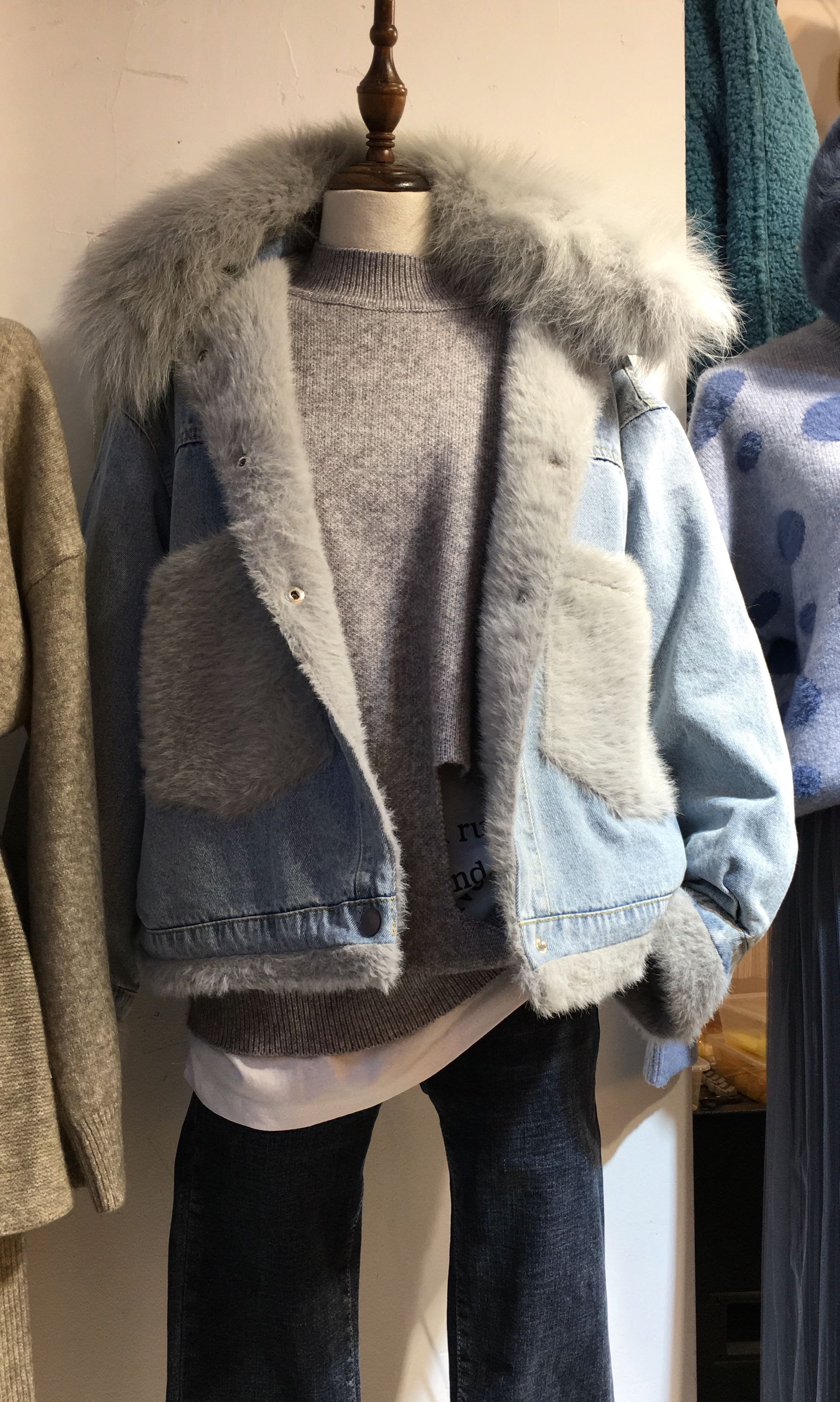 cce76a534443 Women s winter jacket   outer wear   denim jacket   fur jacket ...