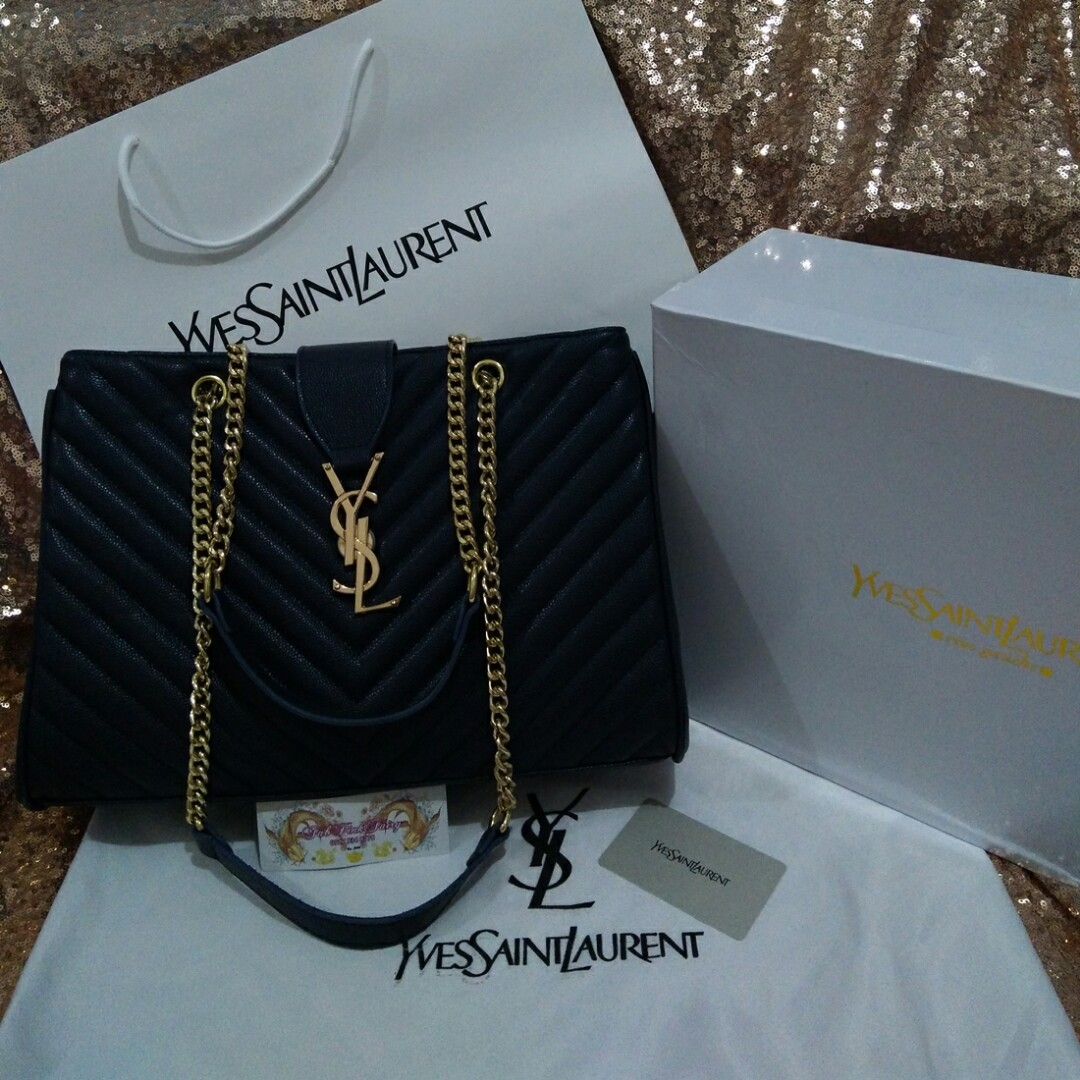 46523dcf5f0c 13.5inches with Box YSL Matelasse Shopper Bag Yves Saint Laurent ...