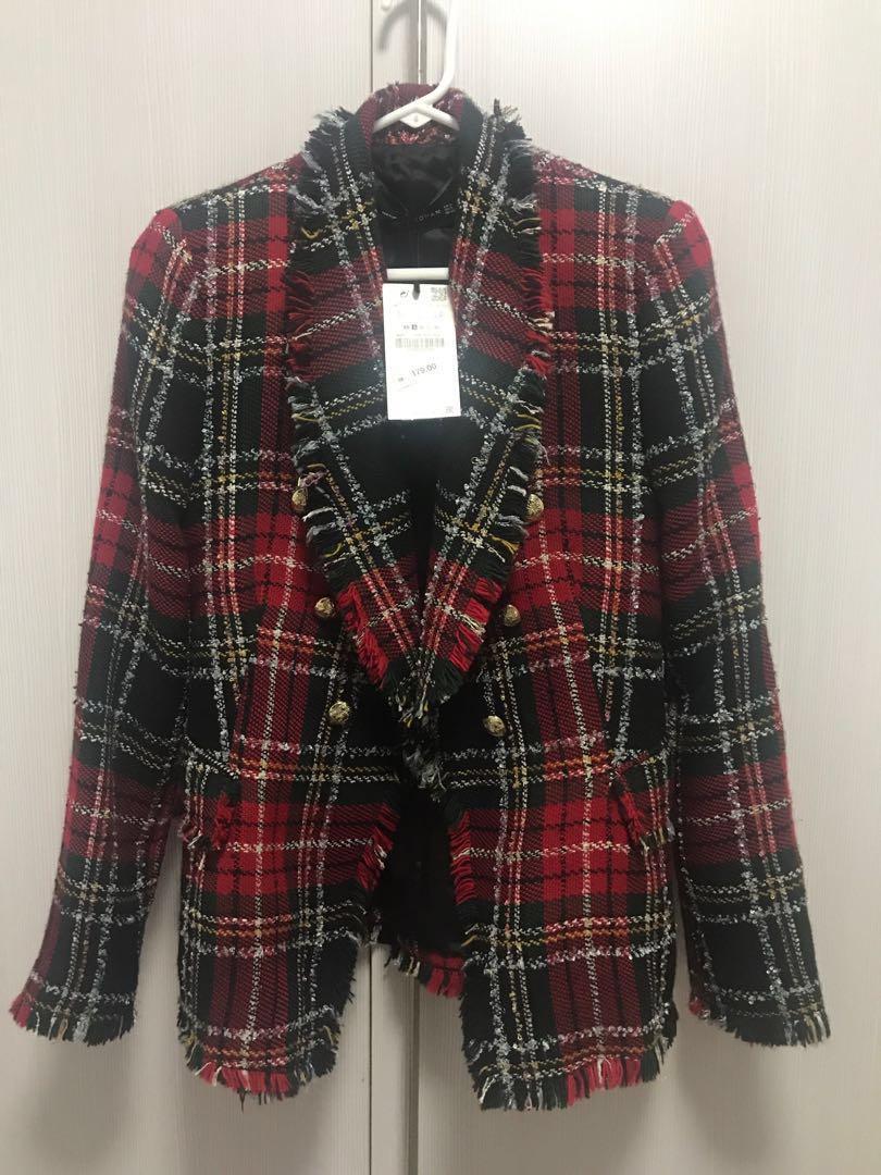Zara Women's Clothes On Tweed Blazer Checked Fashion Outerwear rw6xSrq