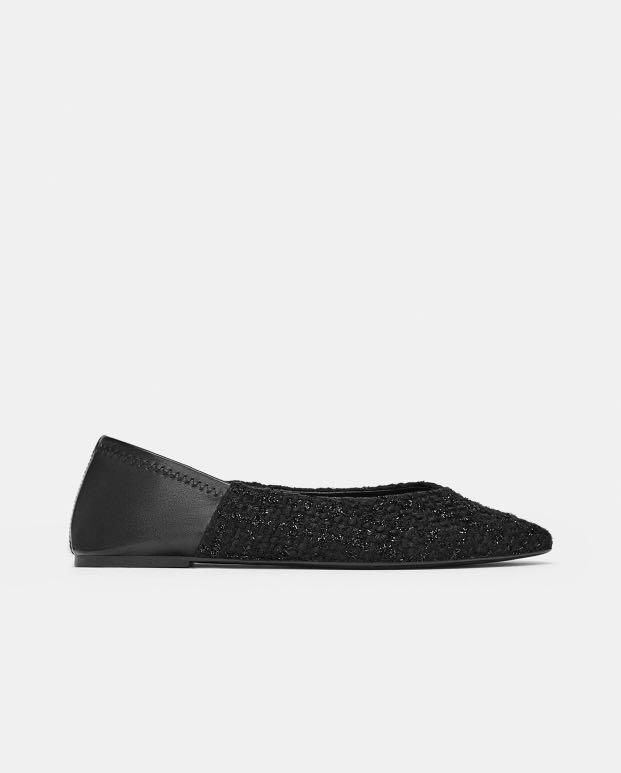 Zara Tweed Ballet Flats