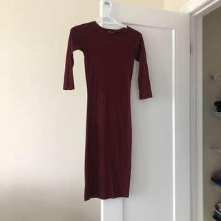 Ribbed Midi Dress Size S