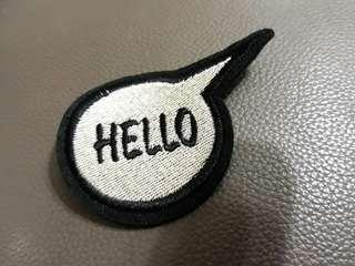 "Iron On Patch: ""Hello"" Speech Bubble"
