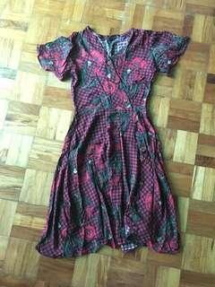 Floral print buttoned sunday dress