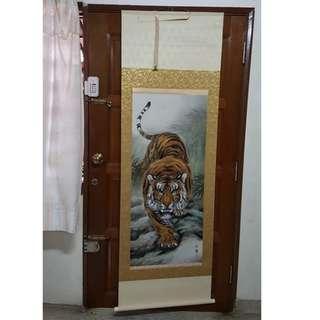 "HUGE JAPANESE HANGING SCROLL ART Painting ""Tiger"