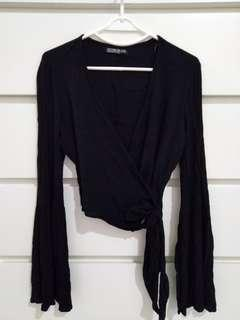 Cotton On Black Wrap Top