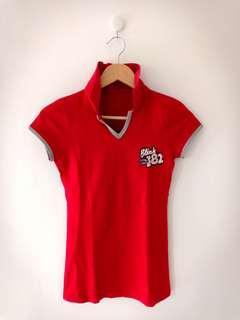 Kaos kerah merah Blink 182 - Red Shirt