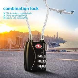 Tsa 719 3 Dial Travel Wired Lock Holiday Luggage Securitr Gym