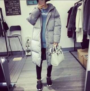 韓版 中長款棉外套 灰色全新