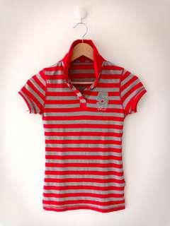 Kaos kerah 5 club - Red Grey Stripes Shirt