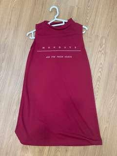 Red Maroon Halter Neck Dress