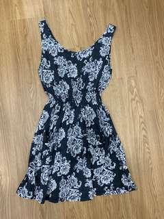 Grey Floral Waist Dress