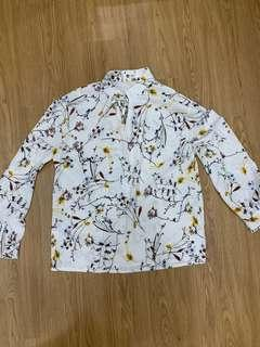 White Floral Long Sleeve Top Blouse Korean Ulzzang