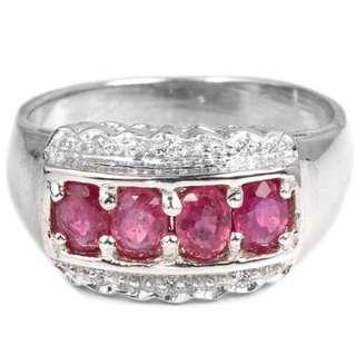 Elegant Ruby Gems and Zircons Ring