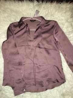 Purple Satin Blouse SMALL