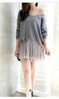 Doris studio Korea 仙女針織百摺雪紡蕾絲襯裙兩件式短洋裝 韓 灰 kashin cozyfee miho
