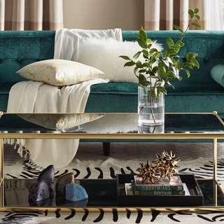 Luxe black mirrored glass & gold rectangular coffee table