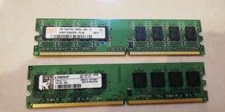 2 x 1G DDR2 ram PC2-5300U