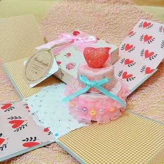 🚚 手工✨精緻蛋糕禮物盒卡片-迷你款 生日卡片 萬用卡片 情人節卡片