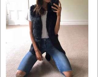 Decjuba fur faux black vest