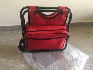 Portable Stool cum Picnic Bag with Cutlery