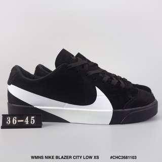WMNS NIKE BLAZER CITY LOW XS 耐克開拓者低幫板鞋 大勾豬巴戈材質運動文化鞋黑白