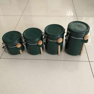 4 Piece Ceramic Kitchen Green Canister Set