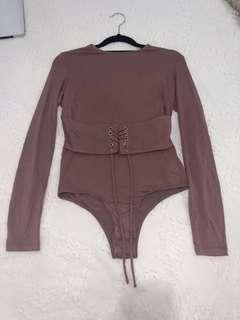 Dark nude Belinda Bardot Bodysuit