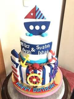Nautical themed cake and cake pops
