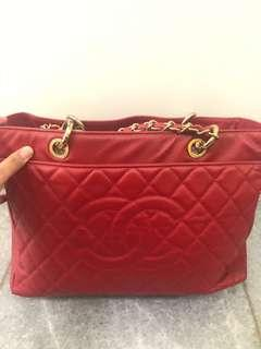 Chanel red classic big sized bag