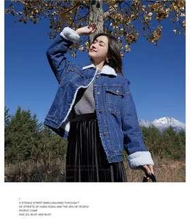秋冬熱款 韓版寬鬆羊毛牛仔外套 褸 加絨加厚 bf風