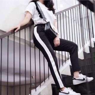 Zara Side List Pants Black Stripe Scuba Legging