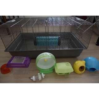 2 savic hamster cages with accessories, bedding and treats
