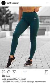 Echt Teal Green Full Length Tights - Size Small BRAND NEW