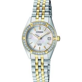 Citizen Swarovski Dual Tone MOP Ladies Elegant Watch EU6064-54D