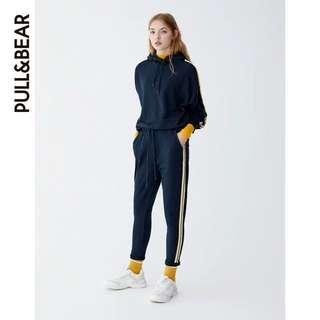 Pull&bear navy yellow hoodie