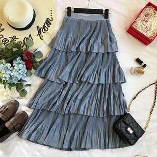 Metallic layered skirt