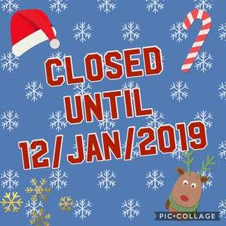 Shop Closed till 12/1/2019