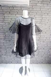 Polka black party dress