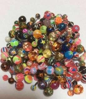 3 pieces lot - Acrylic Ball Belly/Navel Piercing Stud- Glitter/ Glow/Painted( NO MEET UPS)